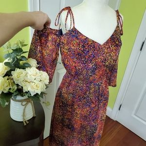 Cold shoulders beautiful multicolor dress